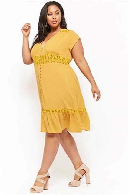 Plus Size Button-Front Dress - Eastridge
