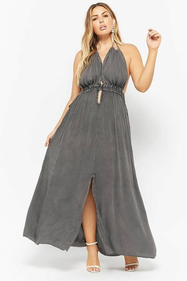 8557108bfb1 FOREVER 21+ Plus Size Boho Me Plunging Halter Maxi Dress - Shops at South  Town