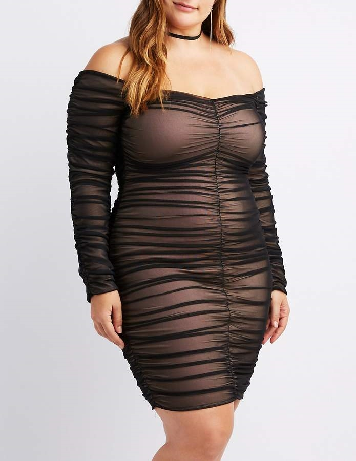 a698a6b287391 Plus Size Ruched Mesh Bodycon Dress - Northpark