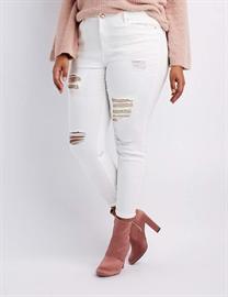 4b7e5bca16 Plus Size Refuge Sequin-Inset Destroyed Skinny Jeans