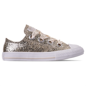 773224255a3 Converse Girls' Little Kids' Chuck Taylor All Star Sparkle Big Eyelets  Satin Casual Shoes, White