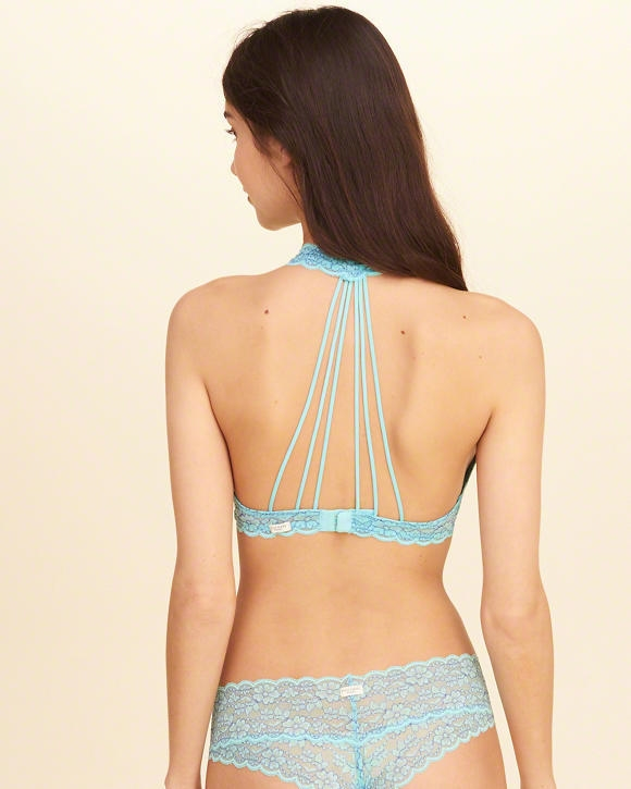 3790d0b9cba Strappy Lace Halter Bralette With Removable Pads - Northpark