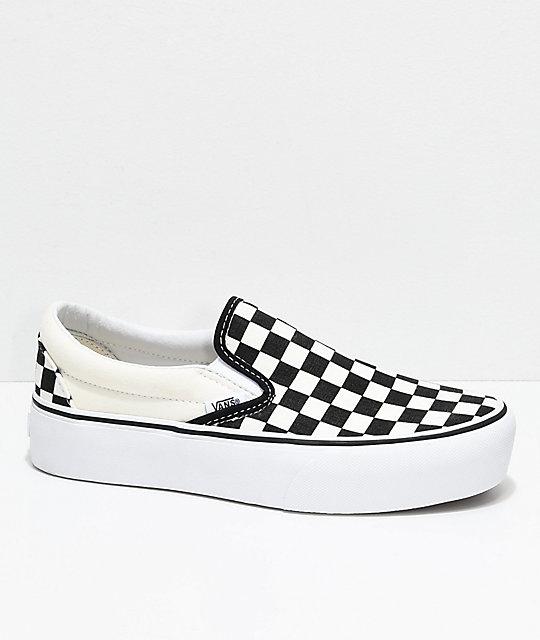 9012555c12c017 Vans Slip-On Black   White Checkered Platform Skate Shoes - Yorktown