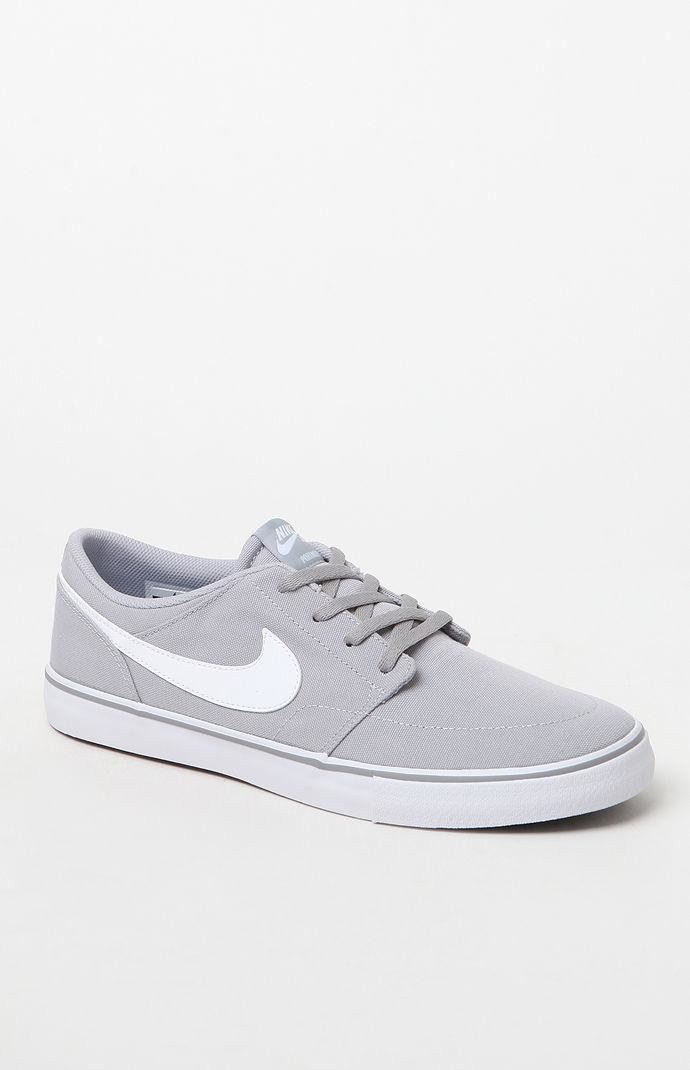 9316ee91cf2c07 Nike SB Mens Solarsoft Portmore II Canvas Grey   White Shoes - Wolf Grey -  Yorktown