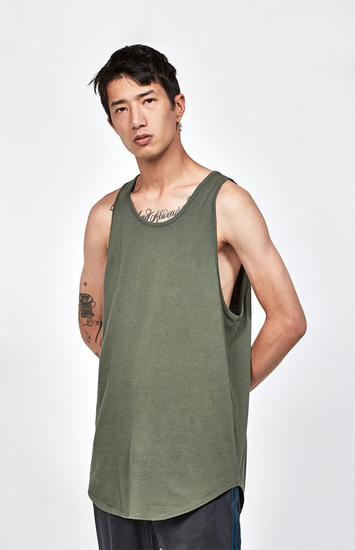 PacSun Mens Pacific Scallop Tank Top - Olive - Northpark fcba187de720