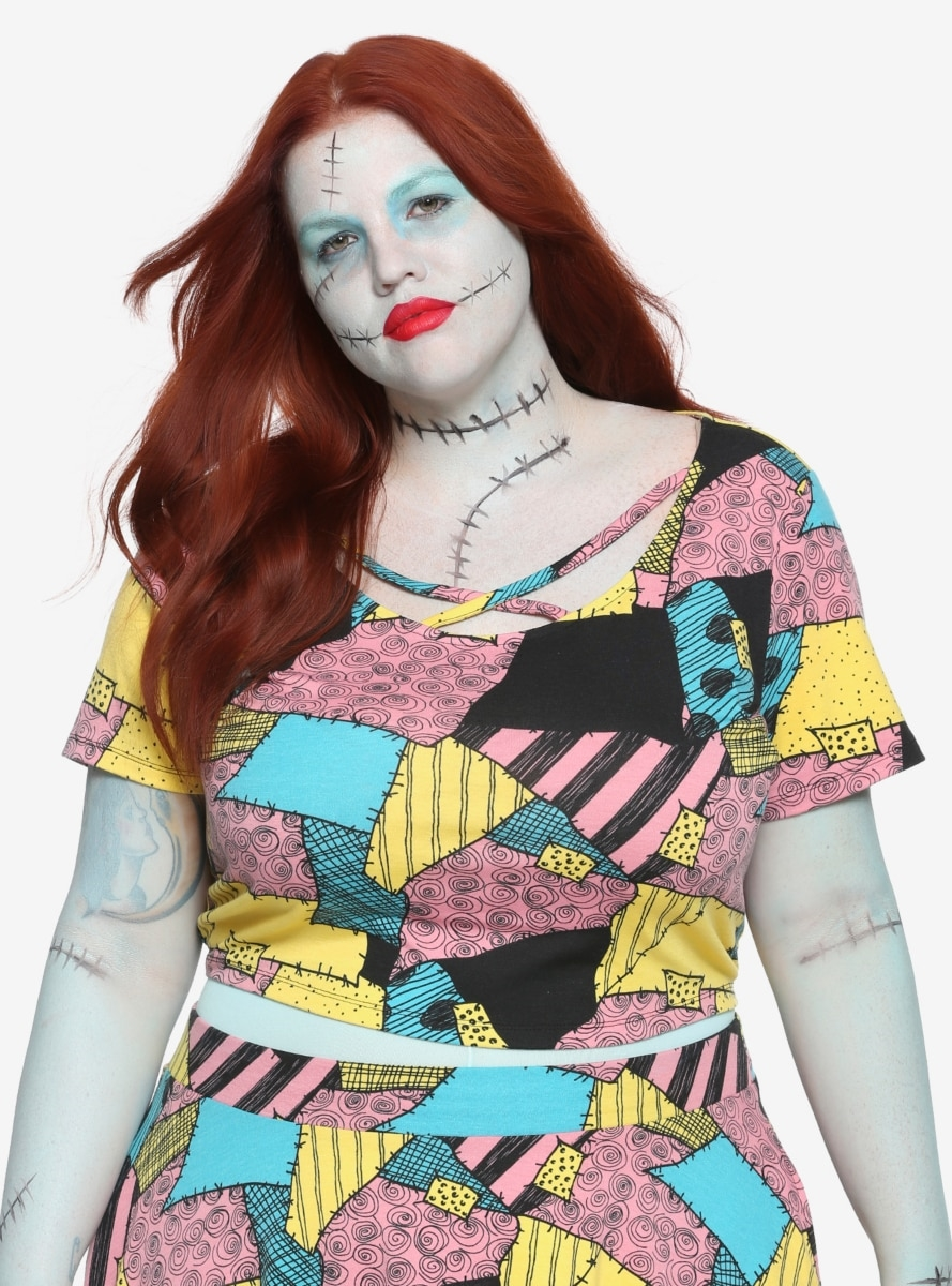 9be3637e2b1 The Nightmare Before Christmas Sally Pattern Girls Crop Top Plus Size -  Northpark