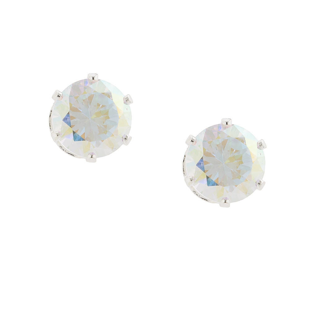 186bf19ec Claire's 10MM Aurora Borealis Cubic Zirconia Round Stud Earrings Silver -  Northpark