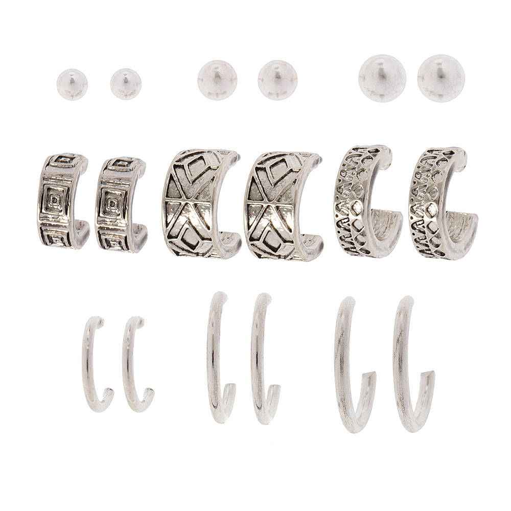ce5c902b9 Claire's Silver Ball Stud, Textured and Polished Hoop Earrings Set of 9  Silver - Northpark