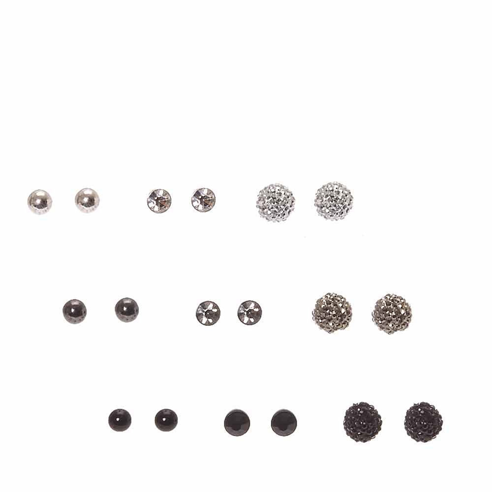 ac1ce4669 Claire's Black, Hematite and Silver Round Stud Earrings Black/Silver -  Northpark