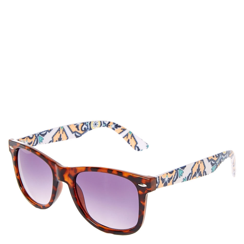 98f4ab3d784 Claire s Retro Tortoise Floral Sunglasses Blue Brown Yellow - Northpark