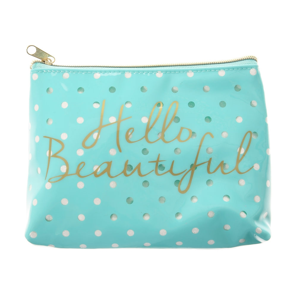 22aaeeb62 Claire's Hello Beautiful Mint Polka Dot Cosmetics Bag Gold/Green - Northpark