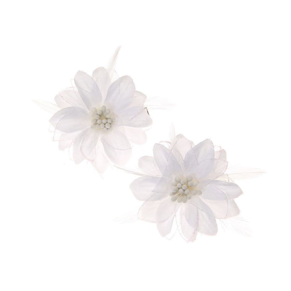 6c5a3f41c Claire's White Lily and Feathers Hair Clips White - Northpark