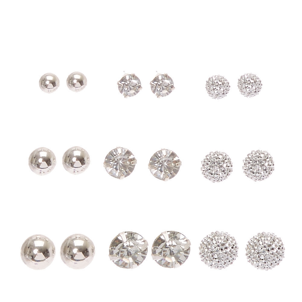 8da65ad92 Claire's Silver-tone Graduated Bling Stud Earrings Clear/Silver - Shops at  South Town