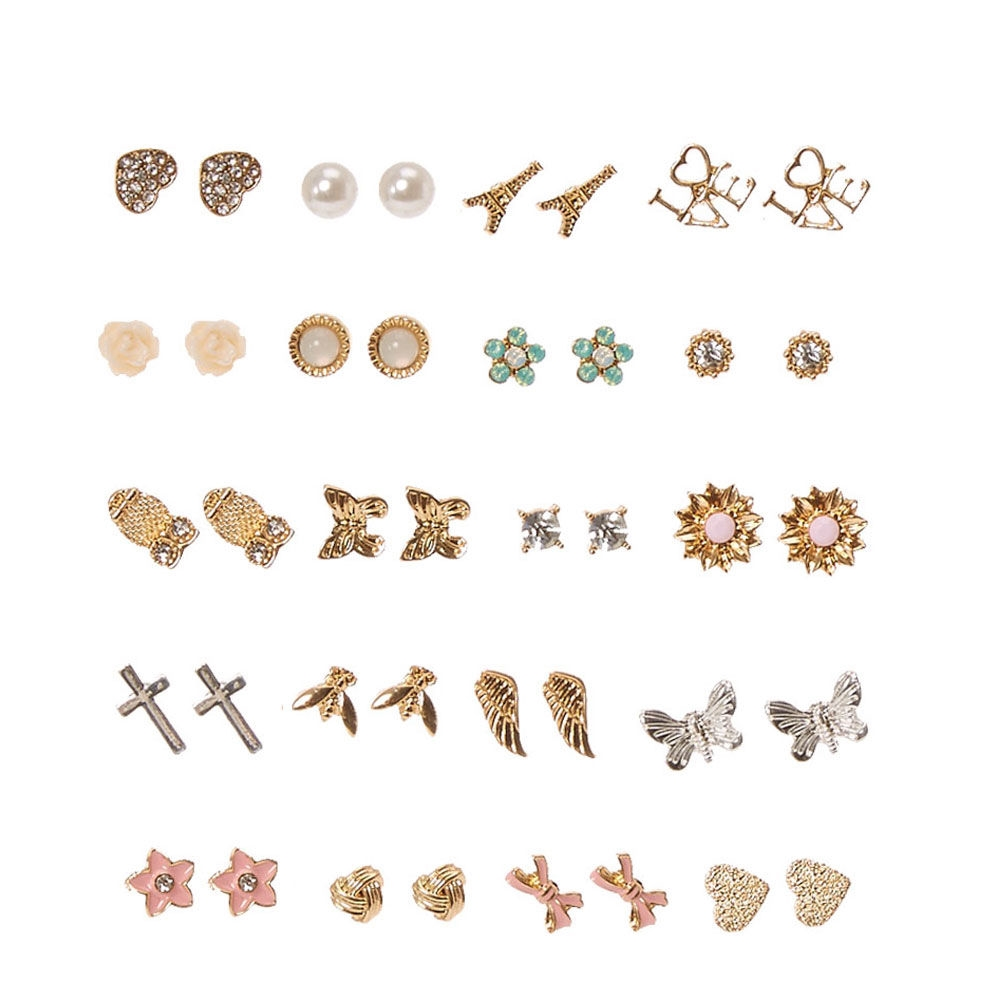 8eb6ed7ef Claire's Gold-tone Romantic Motif Stud Earrings Gold/Pink/Silver - Northpark