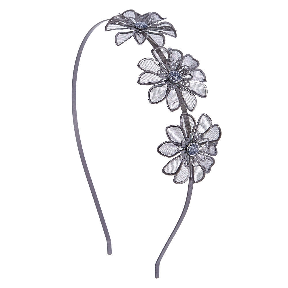 Claire s Hematite Mesh Flower Headband Silver - Shops at South Town bc890976c16