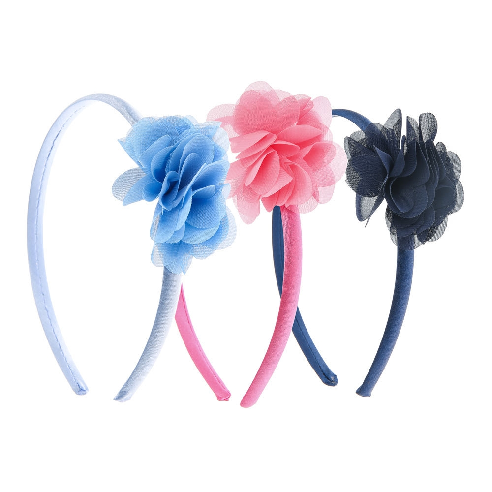 Claire s Kids 3 Pack Tulle Flower Headbands Blue Pink - Northpark 0a3551dfad6