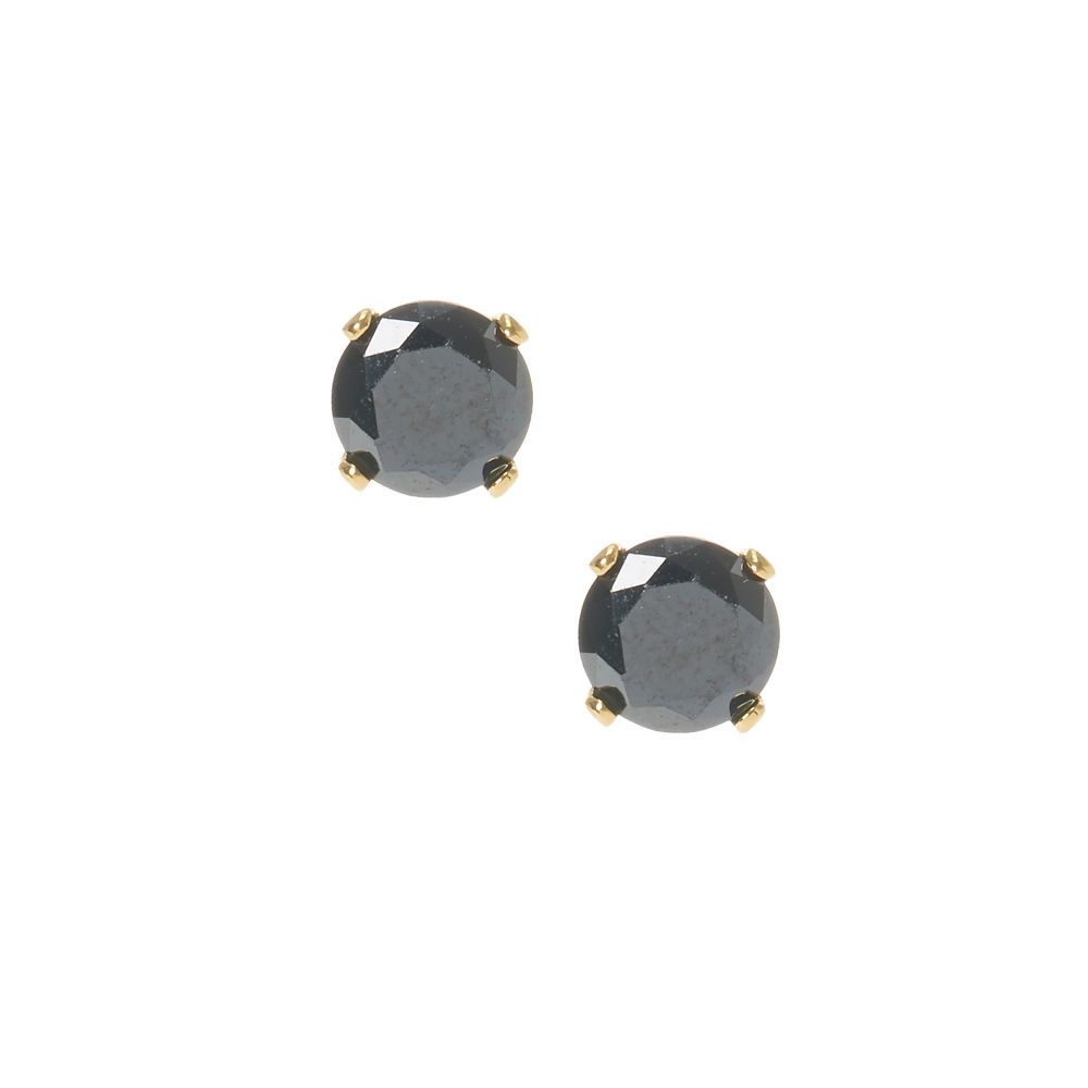 771b16def Claire's 6MM 18kt Gold Plated Cubic Zirconia Black Stud Earrings Black/Gold  - Northpark