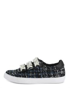 HILEO Tweed Embellished Straps Sneakers