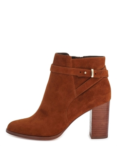 JOMAYA Cross Strap Suede Booties