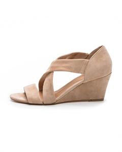 VIKA/VEL Cross Strap Wedged Sandals