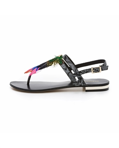 HIPLUME Feather Embellished Sandals