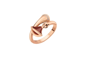 Divas' Dream 18K Pink Gold Ring with pave