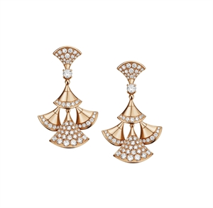 Divas' Dream 18K Pink Gold Earrings with pave