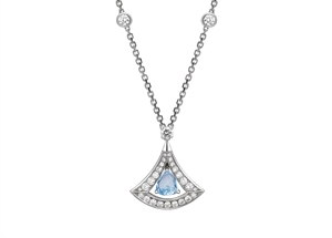 Divas' Dream 18K White Gold Necklace mounted with Aquamarine Diamond
