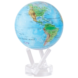 "Mova Globe - World Map - Blue with Relief Map - 6""MG-6-RBE"