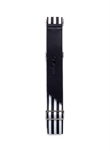 Leather trim web luggage strap