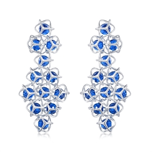 Embrace Collection Sterling Silver  Blue Crystal Earrings