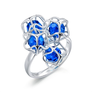 Embrace Collection Sterling Silver  Blue Crystal Ring