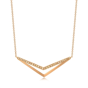M Collection 18K Red Gold  Brown Diamond Necklace