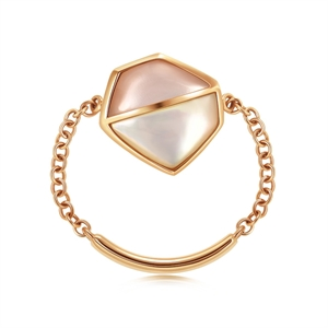 Harmony Collection 18K Red Gold Mother-of-Pearl Diamond Ring
