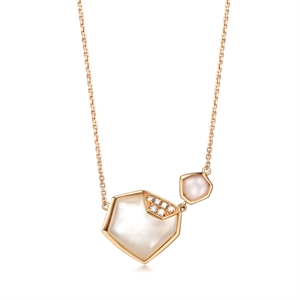 Harmony Collection 18K Red Gold Mother-of-Pearl Diamond Necklace