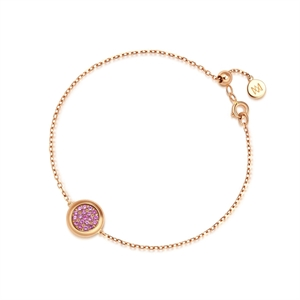 Timeless Collection 18K Red Gold Pink Sapphire Diamond Bracelet
