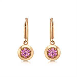 Timeless Collection 18K Red Gold Pink Sapphire  Earrings