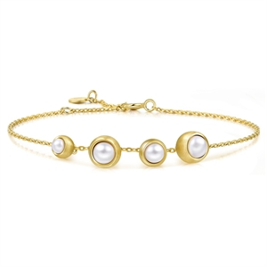 Bloom Collection 18K Gold  Pearl Bracelet