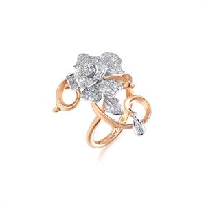 Dazzling Flower 18K Gold Diamond Ring