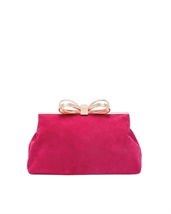 SUEDE STATEMNT BOW EVENING BAG