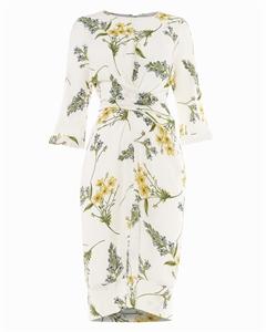 SANDRINE FLORAL WRAP TIE DRESS