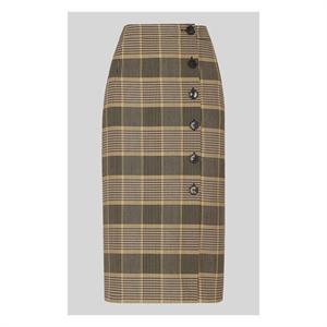 Check Button Pencil Skirt