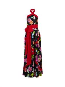 Flower Printed Silk Long Dress