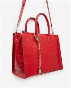 LARGE RED CROCODILE-PRINT MING BAG