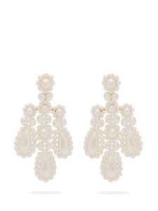 FAUX PEARL AND METAL CHANDELIER EARRINGS