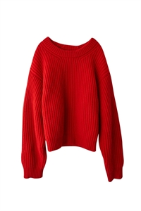 OPEN NECK RIBBED KNITWEAR