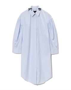 BLUE STRIPE RIBBON COLLAR SHIRT DRESS