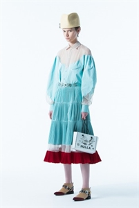SHEER PANEL PLEATED SKIRT WITH CONTRAST HEM