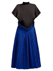 SHORT SLEEVES DRESS WITH PLEATED TWILL