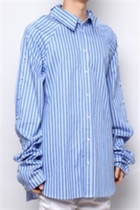 BLUE STRIPE OVERLONG SLEEVE SHIRT